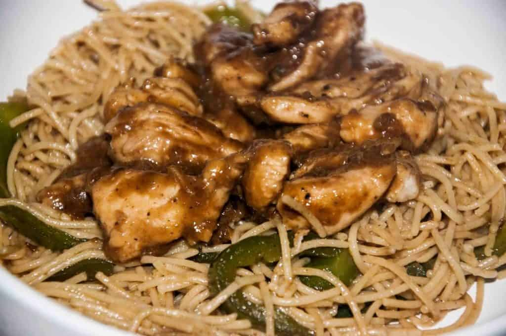 """Mongolian Chicken with Veggies and """"Noodles"""""""