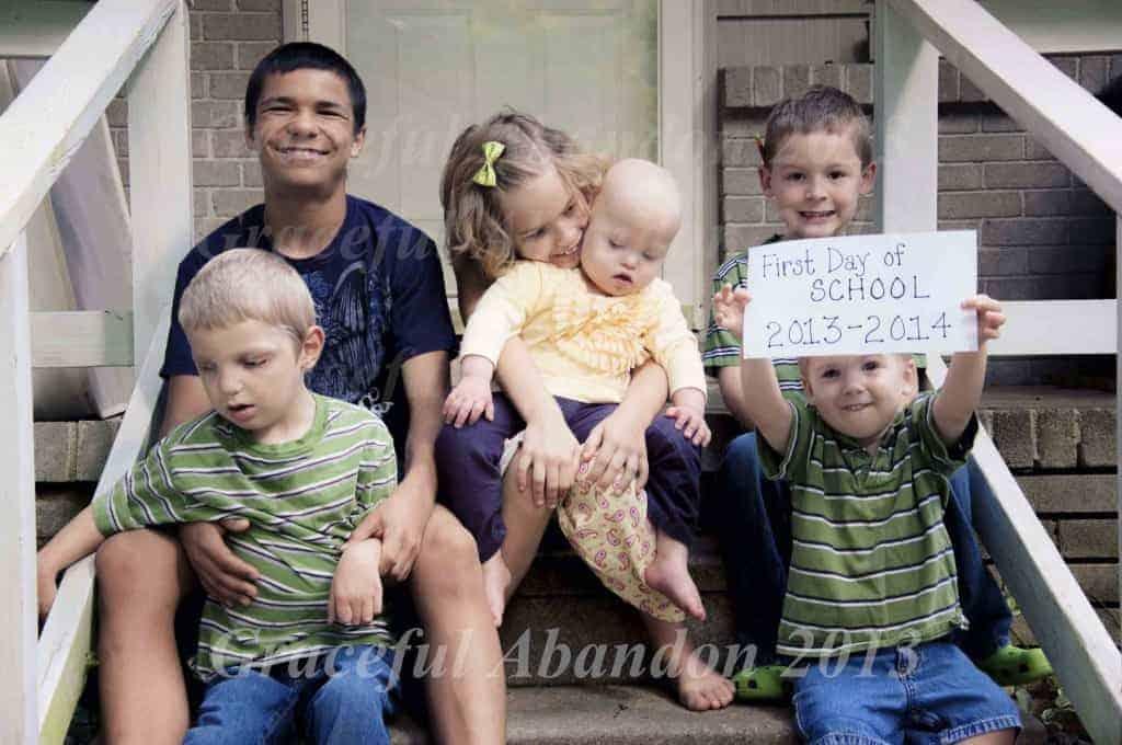 first day of school six kids homeschool graceful abandon