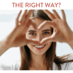 "woman looking through heart hands with text ""are you guarding your heart the right way"""