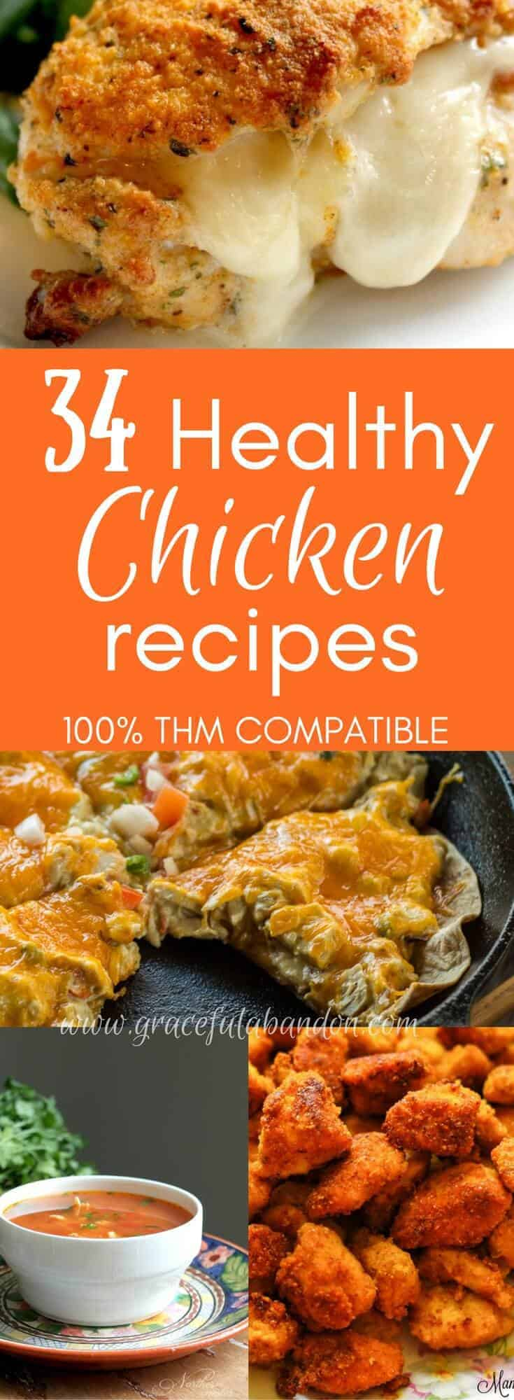 34 Absolutely Healthy, Delicious Chicken Recipes that are Trim Healthy Mama compatible. There are THM S, THM E, and THM FP options here for you to indulge in!