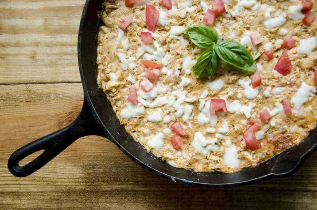 Chicken Parmesan Skillet Dip, THM S, Low Carb, Italian appetizer and dinner