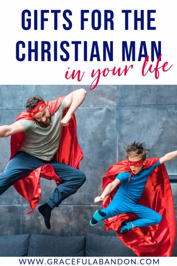 Does the Christian super man in your life need a gift? Photo of father and son like super heroes.