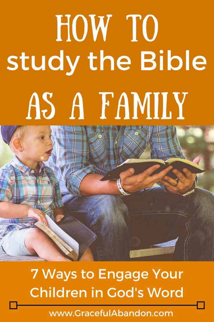 Ever wonder how to study the Bible as a family? Family devotions can be hard to figure out at first, but these 7 tips will show you how to engage your children in God's Word and help you teach your kids about the Bible in a way you can all enjoy.  Christian parenting can seem overwhelming, but simply showing your children God's love is important.