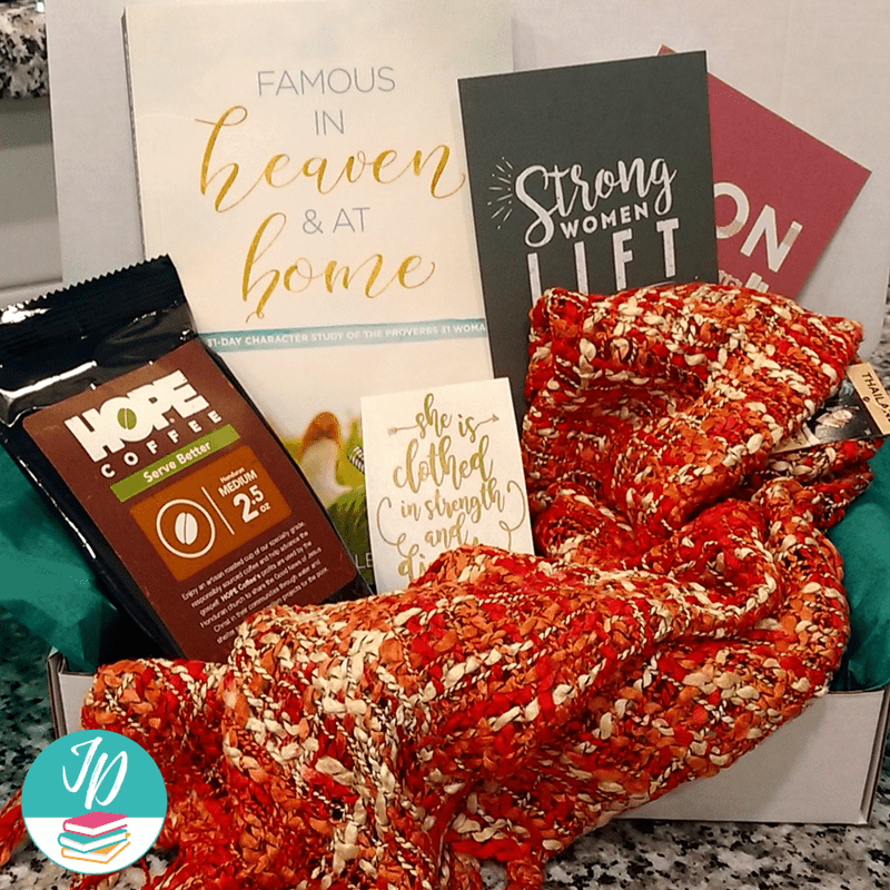 Monthly Subscription Gift Box for Women, Wives, Moms to Encourage Them in Their Faith. Includes a monthly book for devotions and added gifts for her.