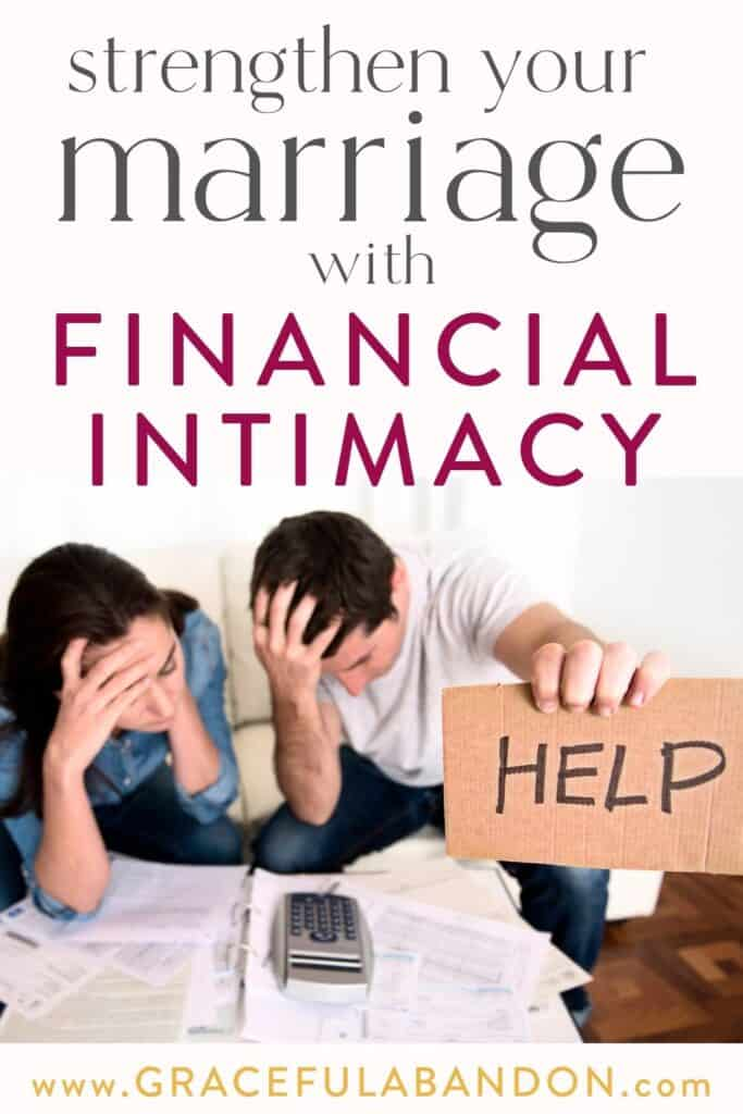 "stressed married couple at odds over their budget holding a sign for help with text overlay ""strengthen your marriage with financial intimacy"" by Graceful Abandon"