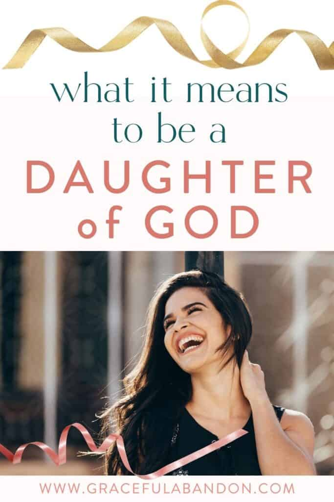 Title image: what it means to be a daughter of God with an image of a happy woman