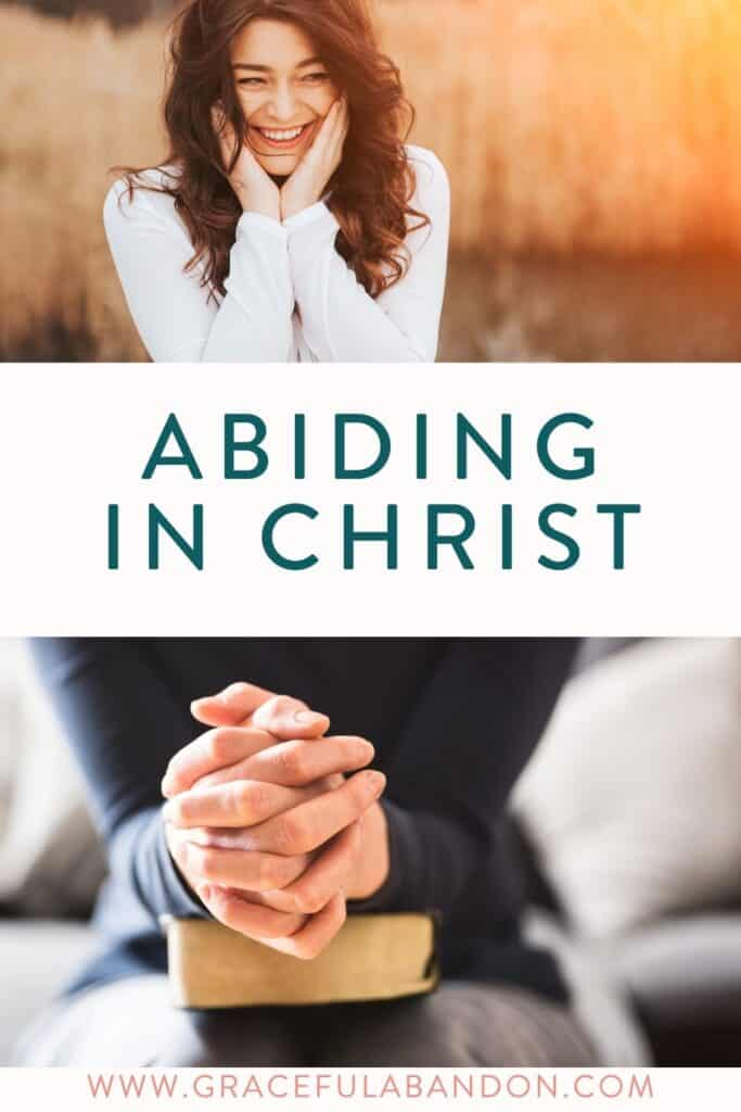 happy woman praying hands abiding in christ