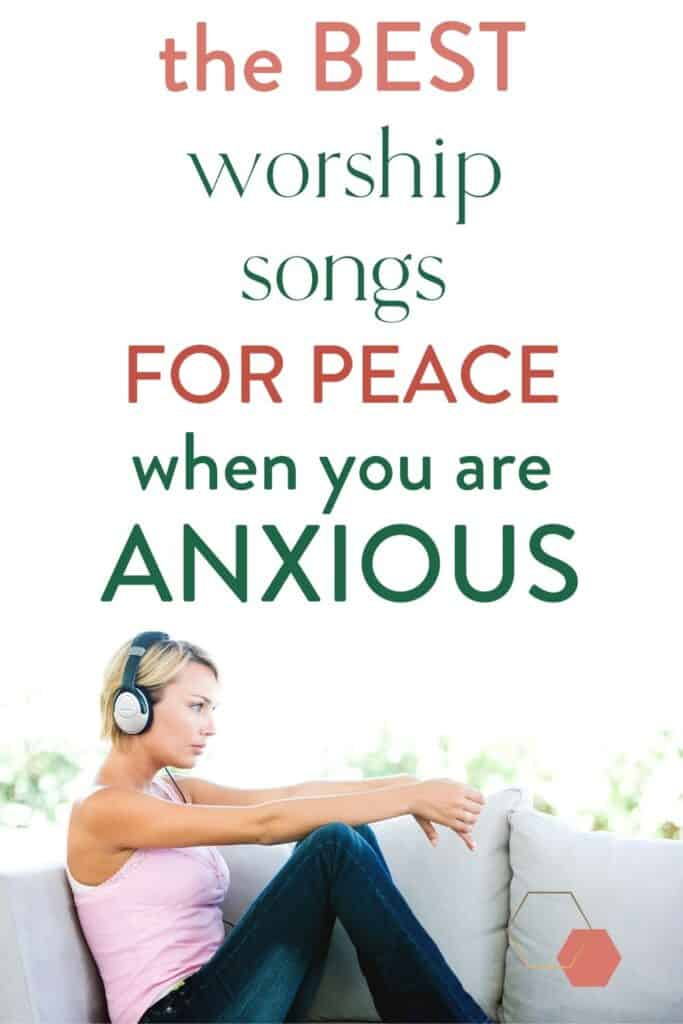 anxious woman on couch with headphones listening to calming Christian music. | #worship #music #playlist #christian