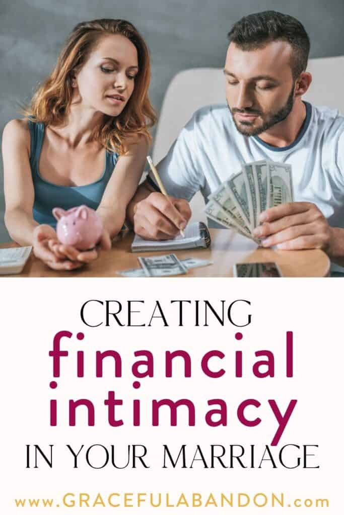 "christian married couple doing their finances with text caption ""creating financial intimacy in your marriage"" by Graceful Abandon"