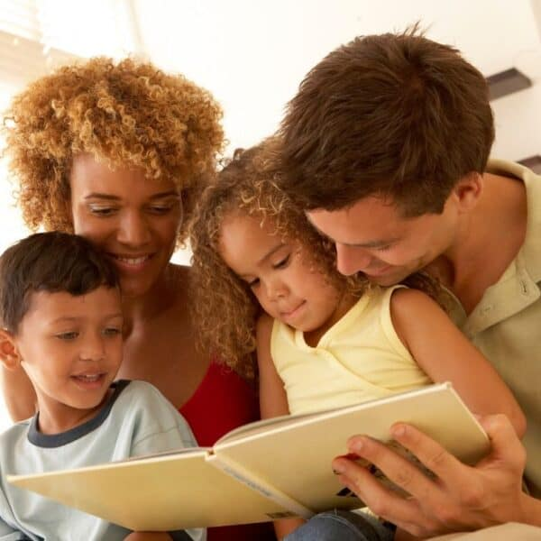 family reading devotions together