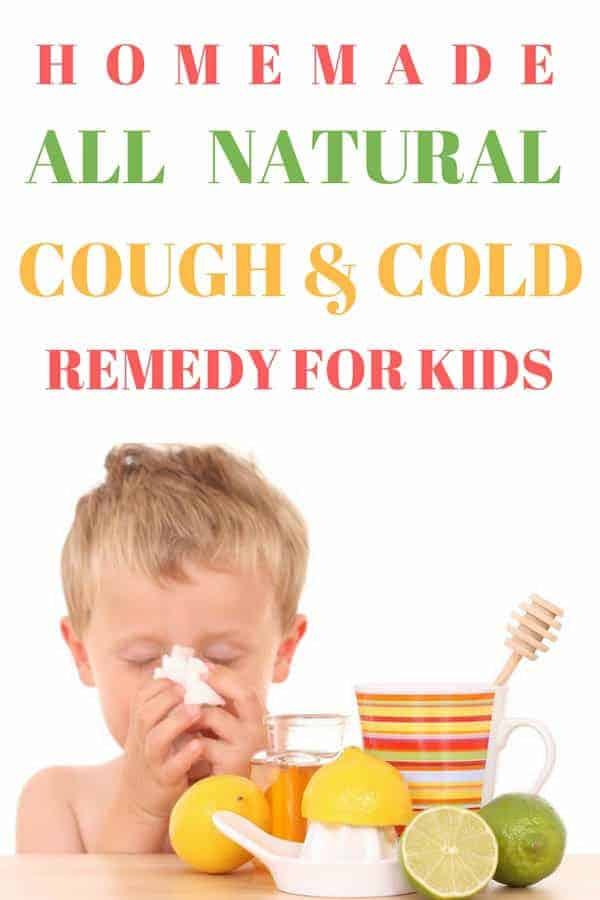 You can make this all-natural cold and cough remedy for kids with ingredients you have in your kitchen. It's a natural cough suppressant, relieves stuffy and runny nose, soothes sore throats, and helps the body heal. This homemade cold remedy for kids should be in every house.