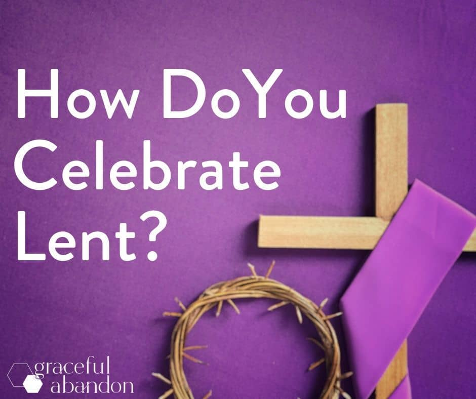 """purple cloth, cross, and crown with words """"how do you celebrate Lent""""?"""