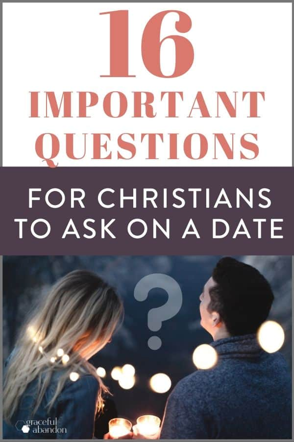 """text """"16 important questions for christian women to ask on a date"""" with a photo of couple talking at night with lights"""
