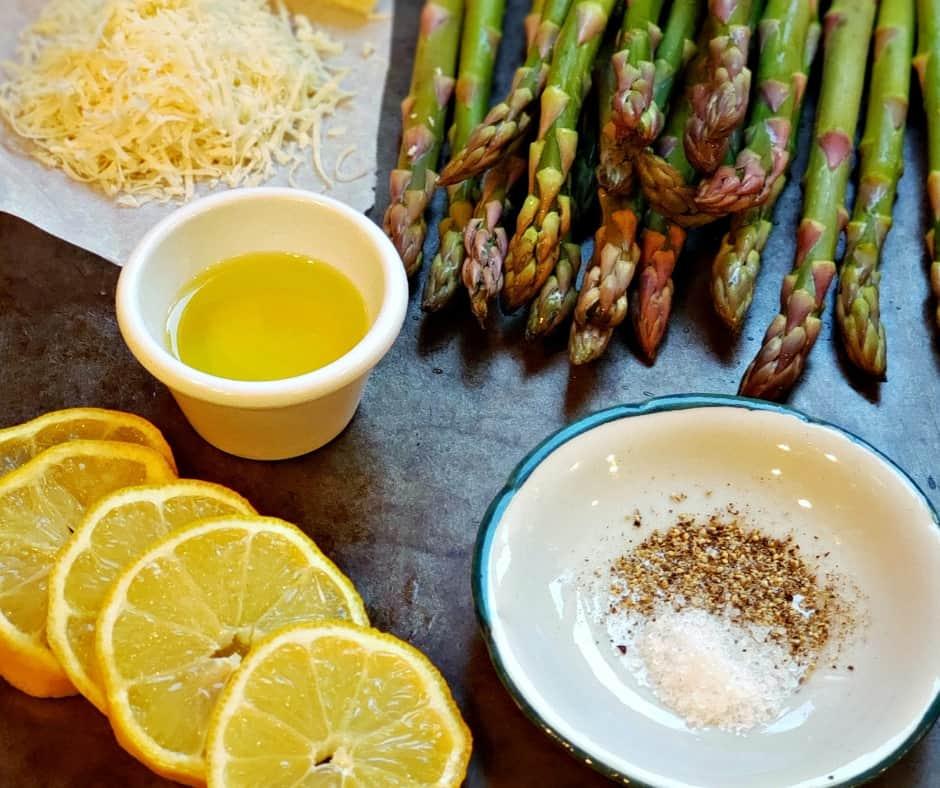 prepping to make lemon garlic asparagus with parmesan