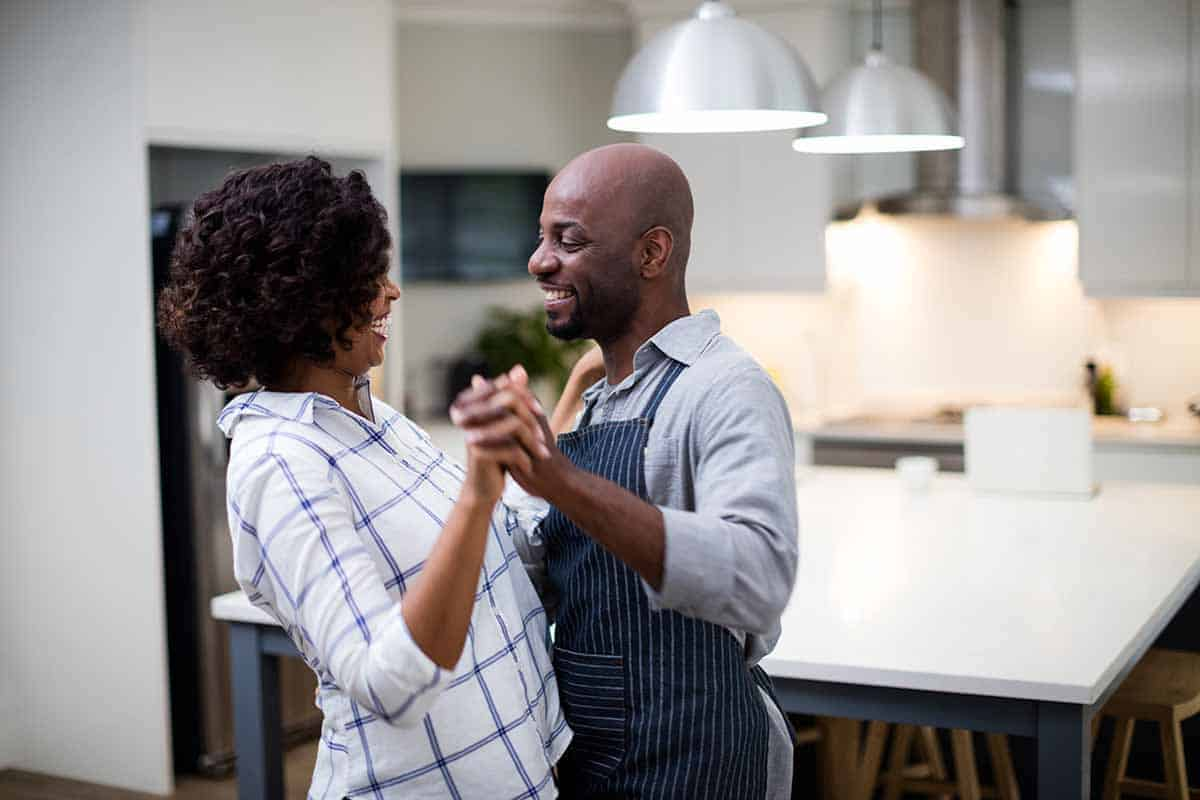 At-home date idea in the kitchen for romance