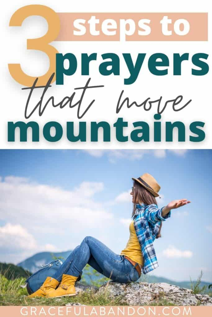 prayers that move mountains text over image of woman praying at a mountaintop