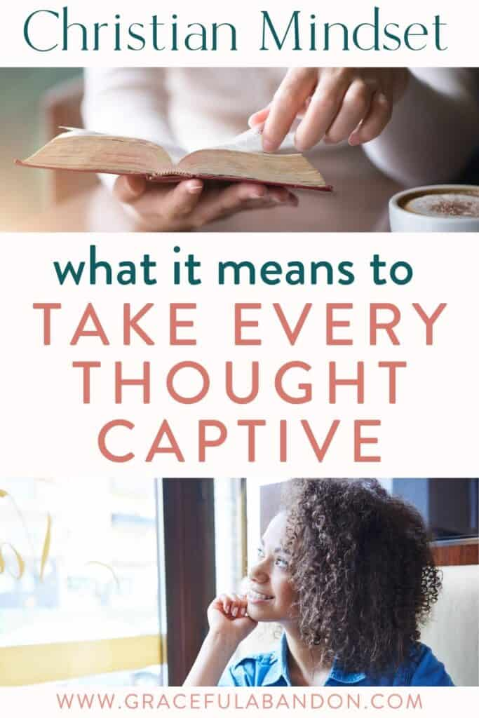 woman thinking and reading bible to take every thought captive