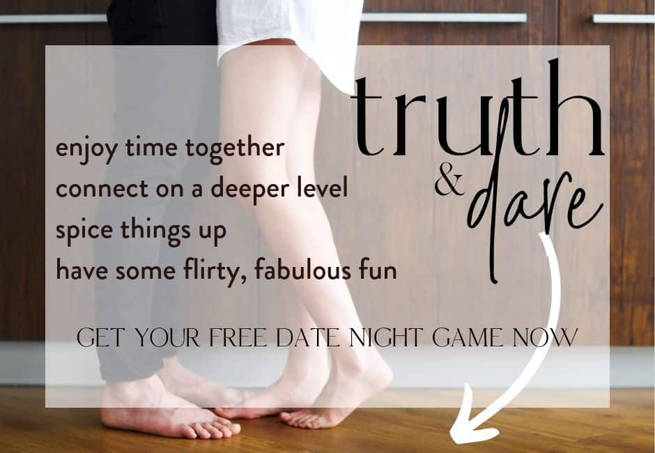 two pairs of feet from a couple with text overlay: get your free truth and dare date night game printable